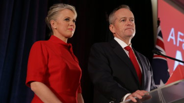 Bill Shorten gives his concession speech at at Hyatt Place in Melbourne, Victoria.