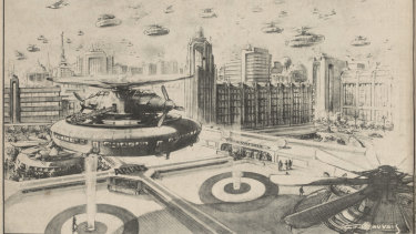 A drawing by C.F. Beauvais published in 1943, showing how he imagined the roof of The Argus building at the corner of Elizabeth and La Trobe Streets in 1970.