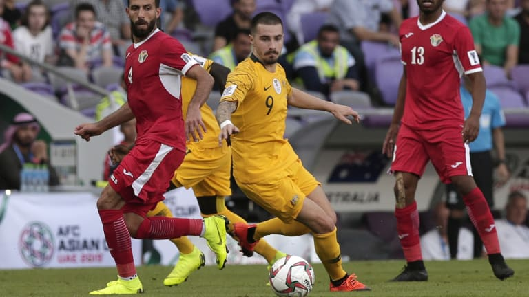 Fox in the box: Jamie Maclaren endured another tough outing for the Socceroos.