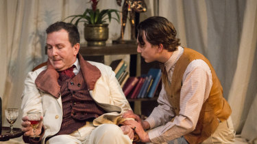 Chris Baldock, left,  as Oscar Wilde and Patrick Galen-Mules as Robert Ross in <i>The Judas Kiss</i>.