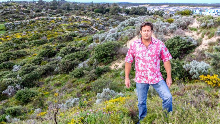 Singleton resident Paul Gullan on his dunes block.