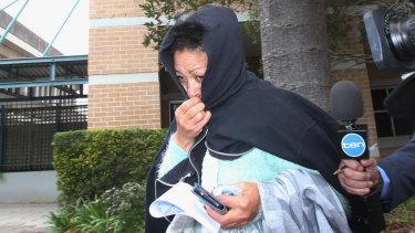 Debbra Aldridge outside Wollongong police station on Saturday.