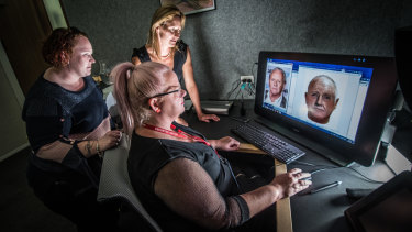Pulling together my face-fit with the help of AFP forensic artists Michelle (far left) and Melanie (closest to screen).