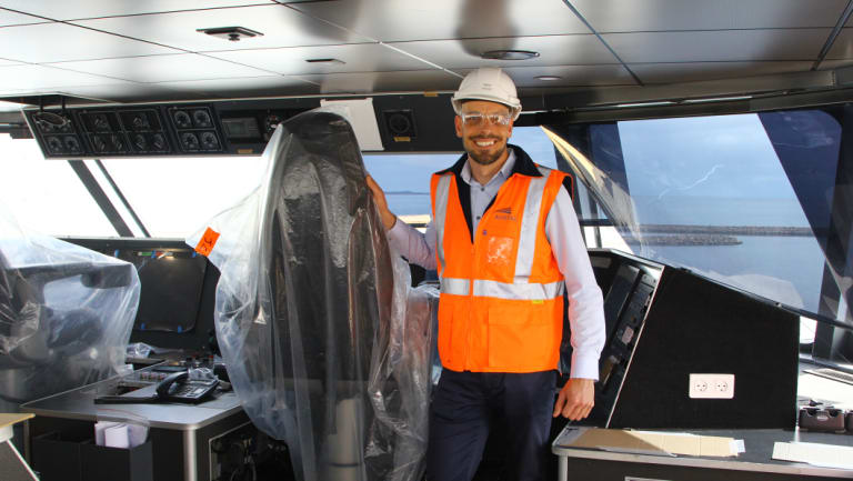 Austal's head of programs Mark House on the bridge of the largest ferry the company has ever built. The Mols Linien Auto Express 109 will commence sea trials soon.