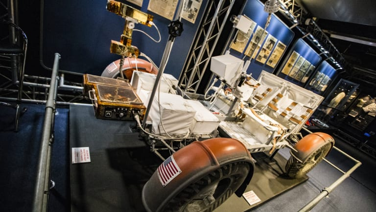 A full-scale replica of theLunarRover used onthe last three Apollo moon missions.