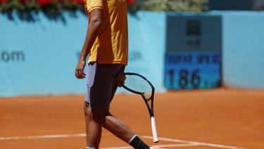 Too often a feature of a Nick Kyrgios match: the broken racquet.