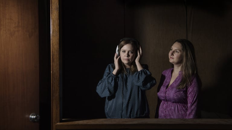 Actor Eloise Snape (left) with Joanna Erskine. Eloise plays the lead role in the new play AIR, set in a radio station.