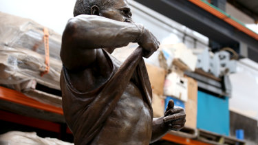 The Nicky Winmar statue will be erected at Optus Stadium, which sits on Noongar land, before the 50th western derby.