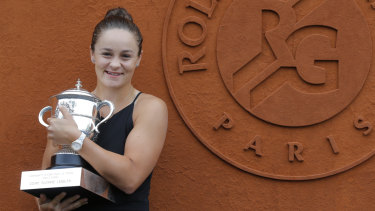 French Open champion: Ashleigh Barty with the trophy at the post-tournament media call.