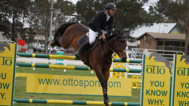 Murrumbateman's Stephen Dingwall competing at the NSW Showjumping Championships in Canberra on Wednesday.