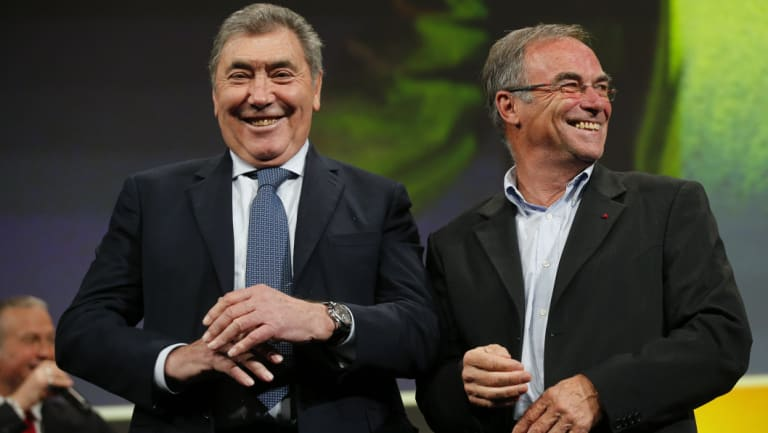 Five-time Tour winners Eddy Merckx (left) and Bernard Hinault at the announcement of the 2019 route.