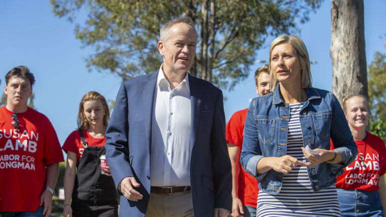 Labor leader Bill Shorten with newly elected member for Longman Susan Lamb.