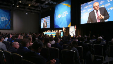 LNP members listen as Prime Minister Scott Morrison speaks during the LNP annual convention in Brisbane on Saturday.