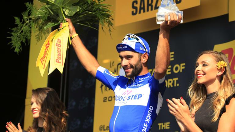 Tour et encore: Fernando Gaviria of Colombia celebrates his stage four win.