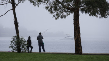 Fishermen brave the fog at Pyrmont.