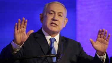 Israeli Prime Minister Benjamin Netanyahu attends a start of Hanukah ceremony in Ramat Gan, near Tel Aviv, Israel, on Sunday.