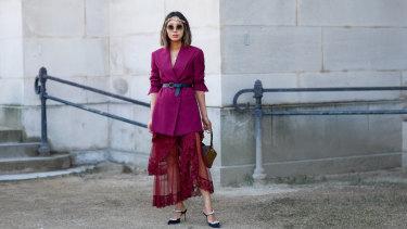 Fashion influencer Aimee Song in a maxi skirt during Paris Fashion Week.