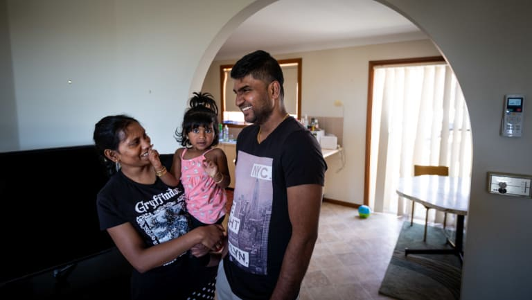 Thileeban, pictured with his wife Devarani Rajalingam, is finding it difficult to find work in Bathurst, where they live.