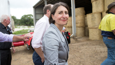 Gladys Berejiklian campaigning in Lismore on Wednesday.