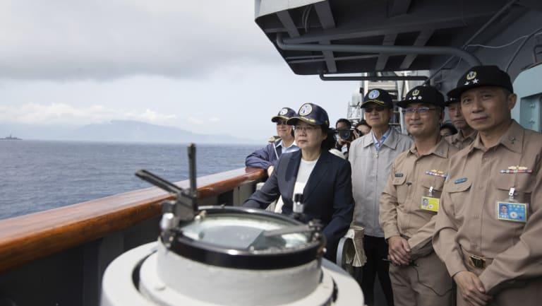 Taiwan's President Tsai Ing-wen, second from left, inspects on a Kidd-class destroyer during a navy exercise in the northeastern port of Su'ao in Yilan County, Taiwan in April.