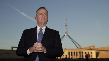 Labor leader Bill Shorten outside Parliament.