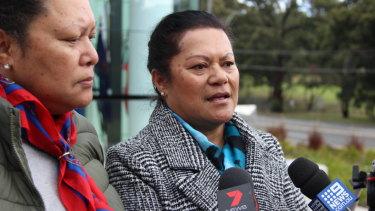 Mrs Pahiva's daughters Epe Tutoka (right) and Sasai Pahiva speak outside the NSW Coroner's Court.