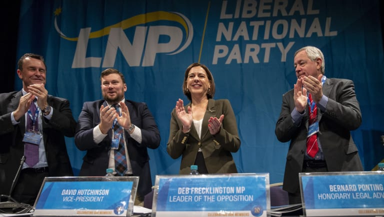 (From left) Queensland LNP President Gary Spence, Queensland LNP Vice-President David Hutchinson, Queensland LNP leader Deb Frecklington and Queensland LNP Honorary Legal Adviser Bernard Ponting at the Queensland LNP (Liberal National Party) State convention on Sunday.