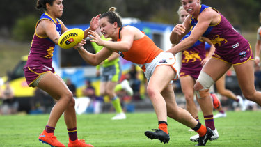 Alyce Parker topped the AFLW's stats sheet for her number of handballs in the Giants' game against the Lions.