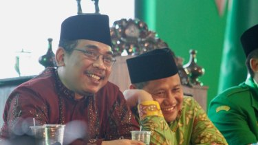 Yahya Cholil Staquf in 2017 with Muhaimin Iskandar, chairman of the NU-based political party, PKB.