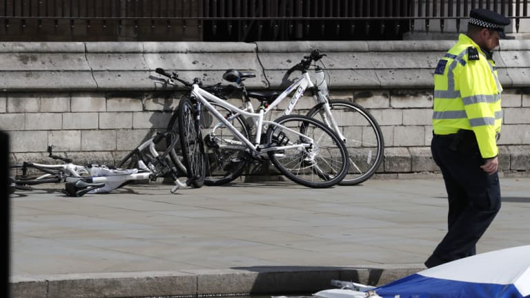 Bicycles near the scene of the crash at the Houses of Parliament.