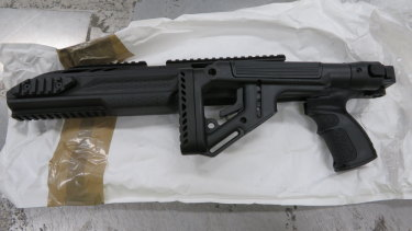 One of the guns seized from the Collie property.