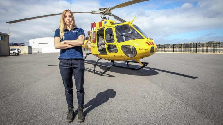 Westpac lifesaver rescue helicopter service crew member Kate Bonner at the North Fremantle base.