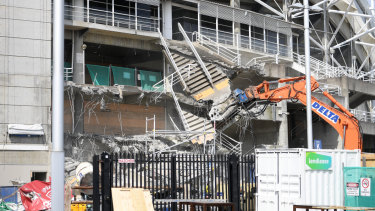 Demolition work is underway at Allianz Stadium in Sydney,