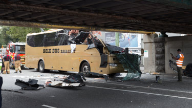 The Gold Bus crash into the notorious Montague Street bridge in February 2016.