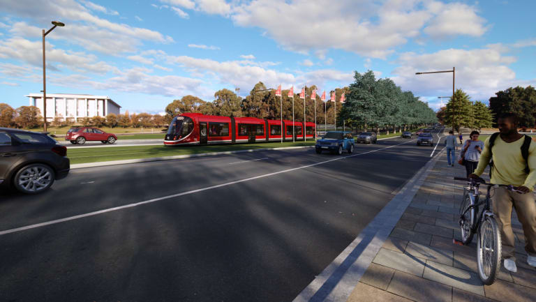 An artist's impression of light rail travelling over Commonwealth Bridge.