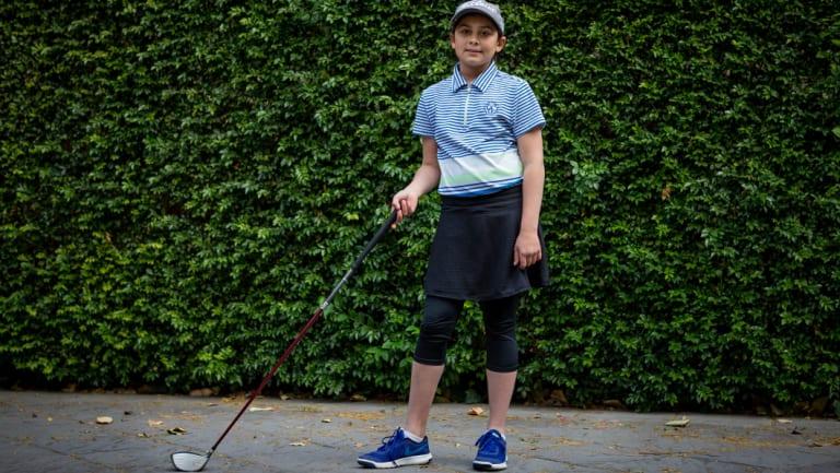 Sahara Hillman-Varma, 11, has represented Australia in international golfing competitions.