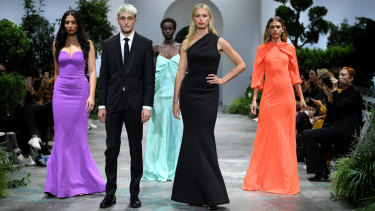 From left: Jessica Gomes, Anwar Hadid, Adut Akech, Karolina Kurkova and Victoria Lee in the David Jones finale on Wednesday.