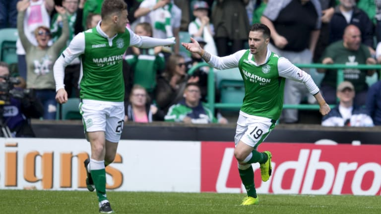 In form: Maclaren scored a hat-trick for Hibs on Saturday, but couldn't crack a place in the Socceroos' 26-man squad.