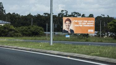 Pauline Hanson's billboards scatter the Bruce Highway in Central Queensland.