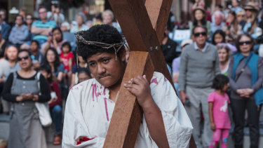 Wesley Mission marks Good Friday at Martin Place.