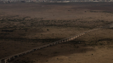 An unfinished stretch of the Standard Gauge Railway, a Chinese-built railroad between Nairobi and Mombasa, in Kenya.