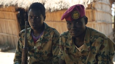 Rebel fighters in New Fangak, South Sudan, where Dorsa met the local governor.