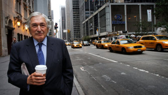 Wolfensohn on 6th avenue outside his office in New York City in 2010.