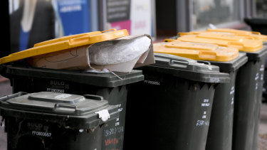 Rubbish in recycling bins collected in St Kilda on Tuesday was bound for landfill.