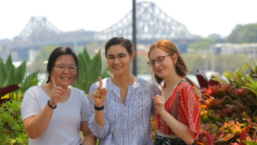 Queensland year 12 graduates Nghi Le Pham, Madeline Orr and Dana Pavolvic were hoping to receive OP1 scores in 2019.