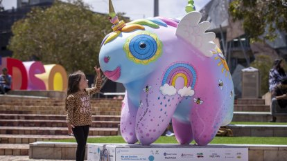 Mythical creatures land in city streets as Royal Children's Hospital marks 150 years