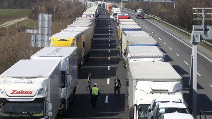 Traffic jams 60km long as desperate travellers choke Europe's borders