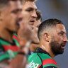 Benji Marshall of the Rabbitohs looks on after another Storm try against Melbourne last week.