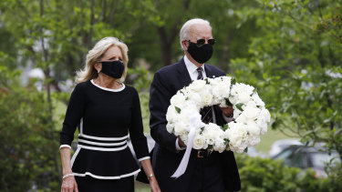 Presidential candidate Joe Biden, seen here with his wife Jill on Memorial Day, issued a statement on the protests over the death of George Floyd in the absence of comforting words by Trump.