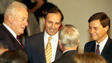 Prime Minister Paul Keating with former Prime Minister Gough Whitlam and Minister for the Arts Michael Lee.